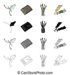 jogo, monocromático, estilo, ícones, pintura, paint., artist's, pretas, estoque, escovas, cartaz, símbolo, tabuleta, web., cobrança, ilustração, caricatura, gráfico, esboço, artista, vetorial, artisticos, caneta, desenho