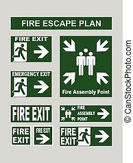 jogo, montagem, planos, emergência, fogo, evacuação, ponto,...