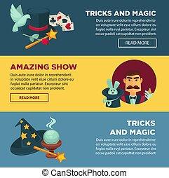 jogo, mostra mágica, truques, promocional, espantoso, ...