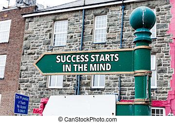 jogo, mostrando, sucesso, negócio, foto, positivity, mente, aquilo, longo, escrita, nota, showcasing, mind., way., começa, ir, seu, lata