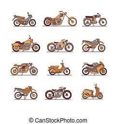 jogo, motocicleta, ícones