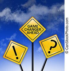 jogo, mudador, à frente, sinal estrada