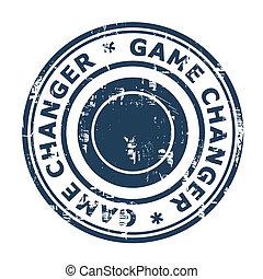 jogo, mudador, negócio, selo