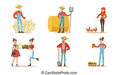 jogo, mulheres, animais, ilustração, ou, agricultores, orgânica, vetorial, legumes, homens, fazenda, jardim mercado, trabalhando, importar-se, vender