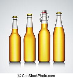 jogo, não, claro, etiqueta, garrafa cerveja