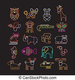 jogo, néon, ícones animais
