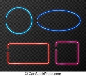 jogo, néon, vetorial, experiência preta, bordas, transparente