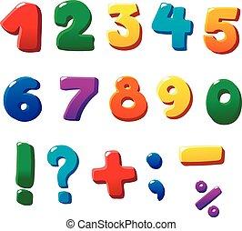 jogo, números, coloridos