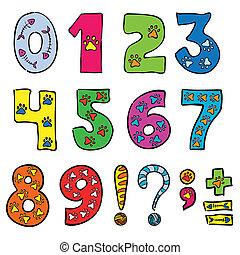 jogo, números, engraçado, sinais