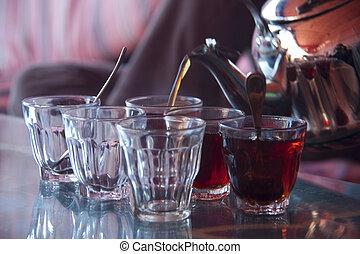 jogo, nana, panela chá, metal, árabe, hortelã, óculos