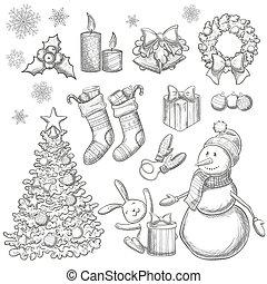 jogo, natal, ícones