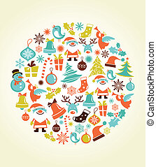 jogo, natal, fundo, ícones