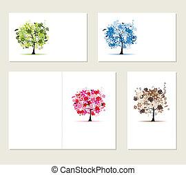 jogo, negócio, árvores, cartões, desenho, floral, seu