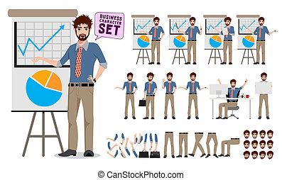 jogo, negócio, mostrando, criação, personagem, macho, apresentação