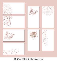 jogo, negócio, ornamento, cartões, desenho, floral, seu