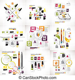 jogo, negócio, pedaços, nove, infographics, branca
