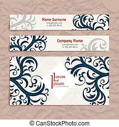 jogo, negócio, vindima, ornament., vetorial, desenho, floral, style., cartão, templates.