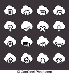 jogo, nuvem, ícones