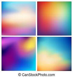 jogo, nuvens, fundo, -, abstratos, fundos, obscurecido, praia, cores, vetorial, quadrado, 4, mar, oceânicos, multicolored, set., céu