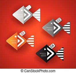 jogo, objetos, dado forma, peixe, text., papel, lugar, seu
