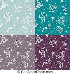 jogo, objetos, espaço, mão, vetorial, desenhado, doodles, caricatura