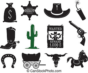 jogo, ocidental, ícones