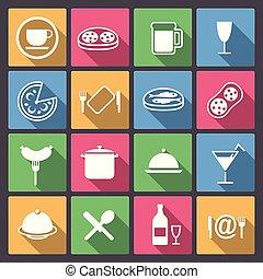 jogo, ofdish, e, ícones alimento, em, apartamento, d