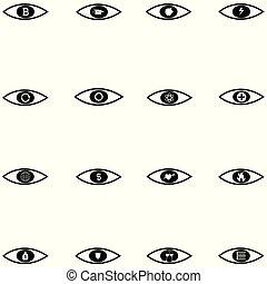 jogo, olho, ícone