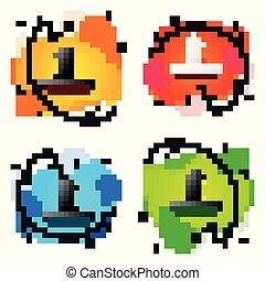 jogo, olho, líquido, isolated., abstratos, shapes., ilustração, hole., vetorial, buraco fechadura, olha, pretas, geomã©´ricas, ícone, cor, keyhole.