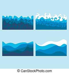 jogo, ondas oceano