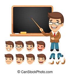 jogo, ou, personagem, seu, animação, desenho, caricatura, professor