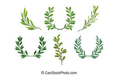 jogo, ou, vetorial, chaplets, separado, grinaldas, folhas, ramos, ramos