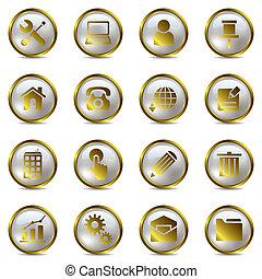 jogo, ouro, ícones