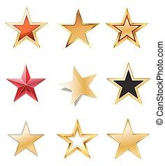jogo, ouro, cores, pretas, estrelas, vermelho