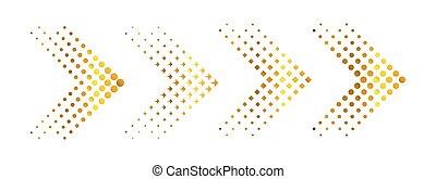 jogo, ouro, effect., setas, ilustração, halftone, vetorial