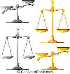 jogo, ouro, escalas, justiça, vetorial, prata