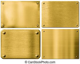 jogo, ouro, metal, isolado, ou, signboards, pratos, rebites