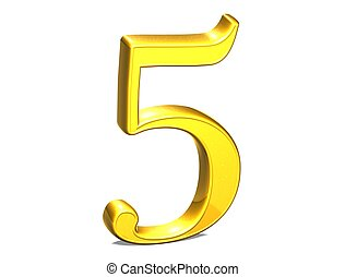 jogo, ouro, número, fundo, branca, 3d