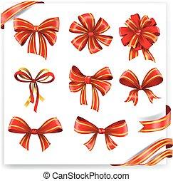 jogo, ouro, presente, arcos, ribbons., vermelho