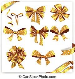 jogo, ouro, presente, polca, arcos, ribbons., ponto
