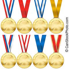 jogo, ouro, tipo, isolado, realístico, vário, foto, branca, medalha, fita