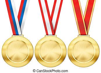 jogo, ouro, tipo, isolado, vário, branca, medalha, fita