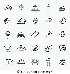 jogo, pão, ícones, -, massa, donut, panificadora, bolo