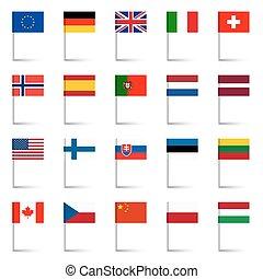 jogo, país, -, 01, bandeiras, alfinetes