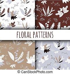 jogo, padrão, mão, vetorial, floral, desenhado, style.
