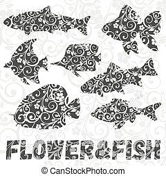 jogo, padrão, peixe, experiência., silhuetas, vetorial, flor