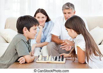 jogo, pais, crianças, seu, olhar