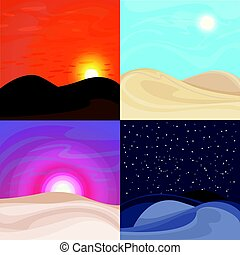 jogo, paisagens, deserto, coloridos