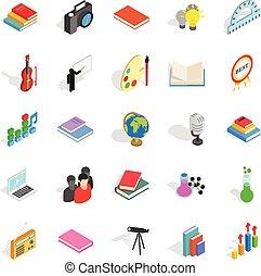 jogo, panfleto, isometric, estilo, ícones