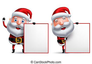 jogo, papai noel, personagem, vetorial, tábua, segurando, em branco, christmas branco